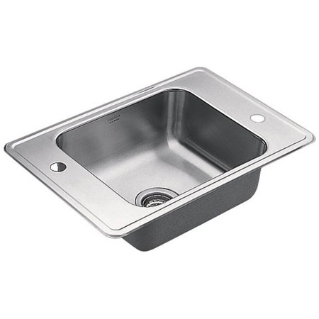 3 Satin Single Basin (Moen 22132 Single Basin Drop-In Steel Kitchen Sink,)