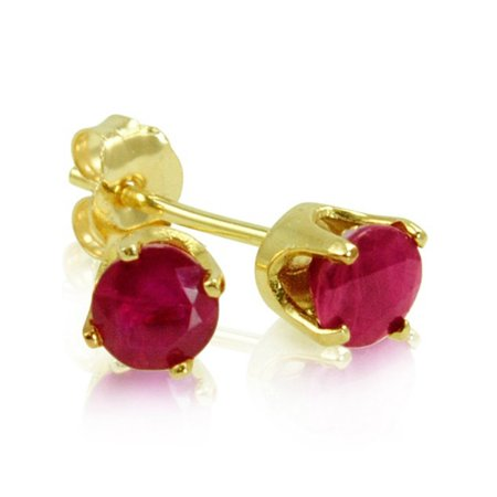 Amanda Rose Collection 4mm Round Ruby Stud Earrings set in 14 Karat Yellow Gold (.60ct tw)