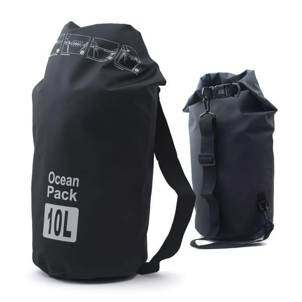 Zodaca Durable Waterproof Outdoor Adventure Storage Dry Tube Bag Backpack for Kayaking Boating Floating Swimming Camping Sports - Black