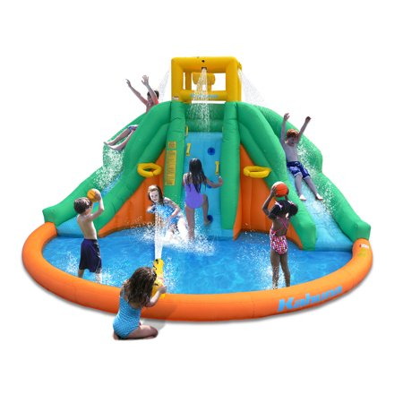 Kahuna Twin Peaks Kids Inflatable Splash Pool Backyard Water Slide (Play Water Slide)