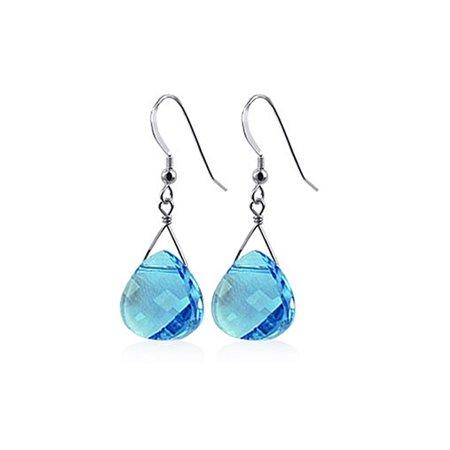 Gem Avenue 925 Sterling Silver Made With Swarovski Elements Blue Crystal Handmade Drop Earrings