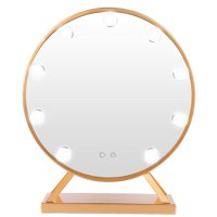 Tebru Round Cosmetic Mirror, Round Cosmetic Mirror With 9 LED Bulbs Golden Makeup Mirror 110V US Plug, LED Vanity Mirror
