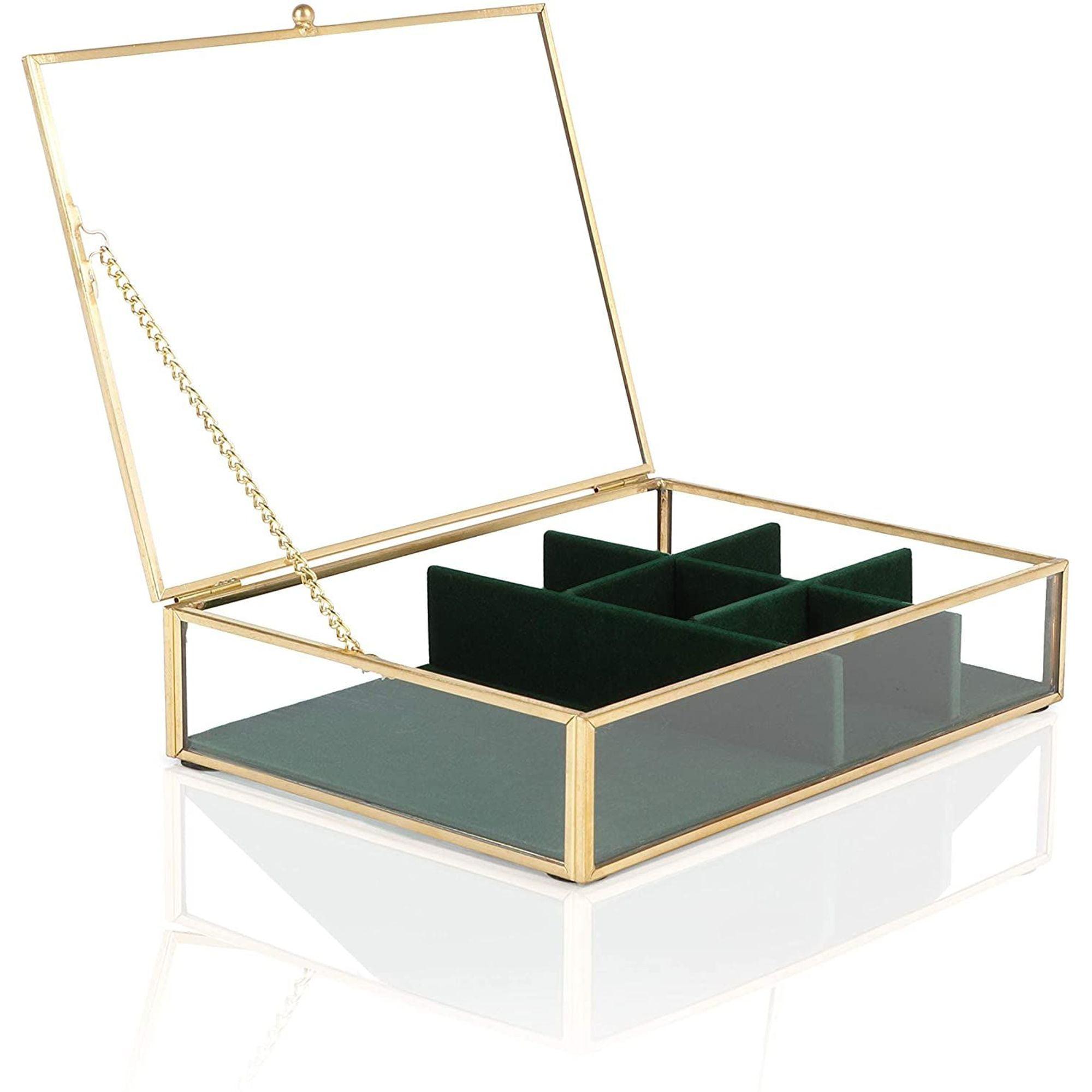 Juvale Glass Jewelry Storage Box With Green Velvet Tray Organizer Lid Clear Gold Walmart Com Walmart Com