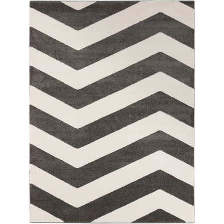 6.6' x 9.5' Contour Wave Gray and Ivory White Decorative Area Throw Rug