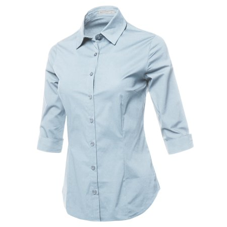 FashionOutfit Women's Casual Work Basic Solid Stretch 3/4 Sleeve Button Down Collar Shirt Blouse