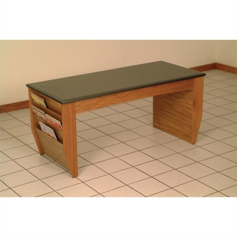 Coffee Table with Magazine Pockets w/Black Granite Look Top