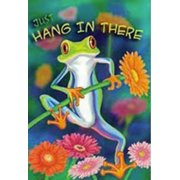 """Hang in There Frog Summer Garden Flag Floral Decorative Banner  12"""" x 18"""""""