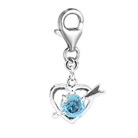 March Birthstone Charm - Clip on March Birthstone Charm Pendant for European Jewelry w/ Lobster Clasp