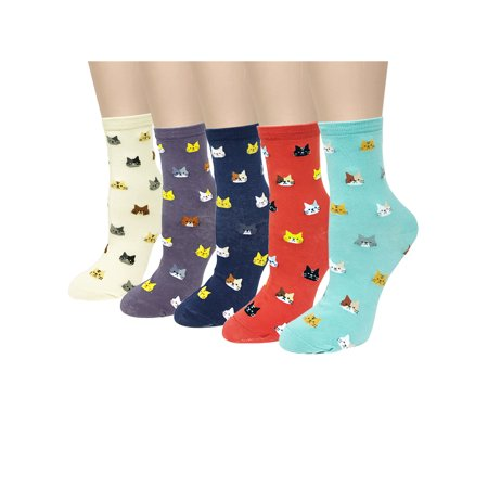 Wrapables® Novelty Animal Print Crew Socks (Set of 5), Cat Face - Cat In The Hat Socks