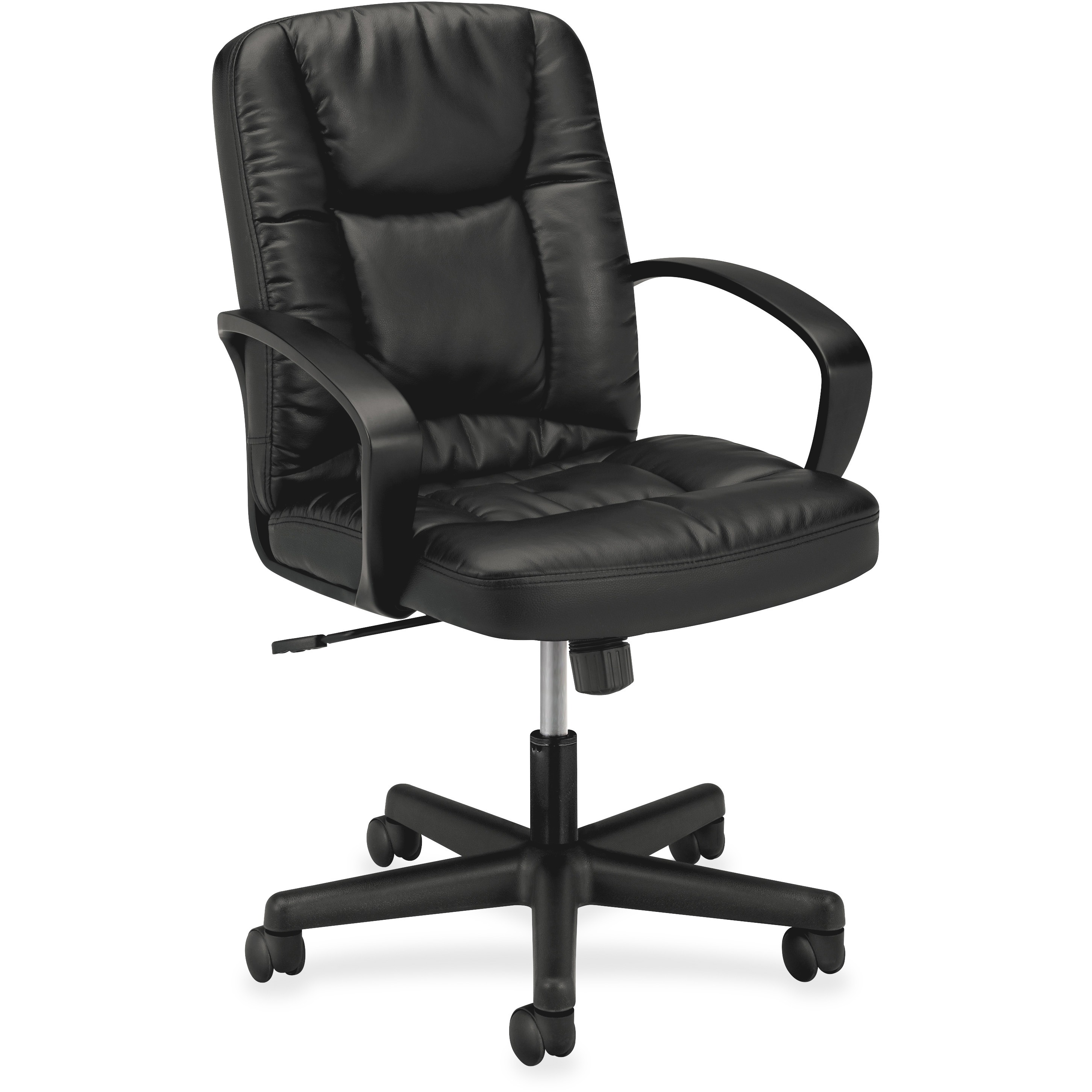 basyx VL171 Series Executive Mid-Back Office Chair, Black Leather