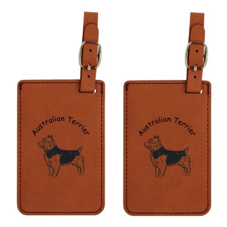 Australian Terrier Standing  Luggage Tag  Set of 2 by Gulf Coast Laser Graphics #L1424