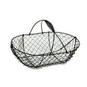 Stella Oblong Wire Fixed Handle Basket - Black 11in
