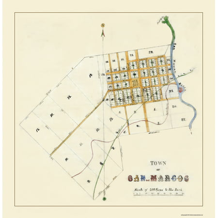 Old City Map - San Marcos Texas - 1881 - 23 x 23.61 - City Of San Marcos Ca