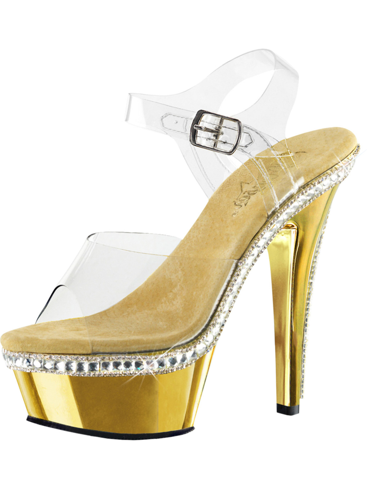 SummitFashions - Womens Gold Sandals Rhinestone Shoes Clear Ankle Strap  Platform 6 Inch Heels - Walmart.com