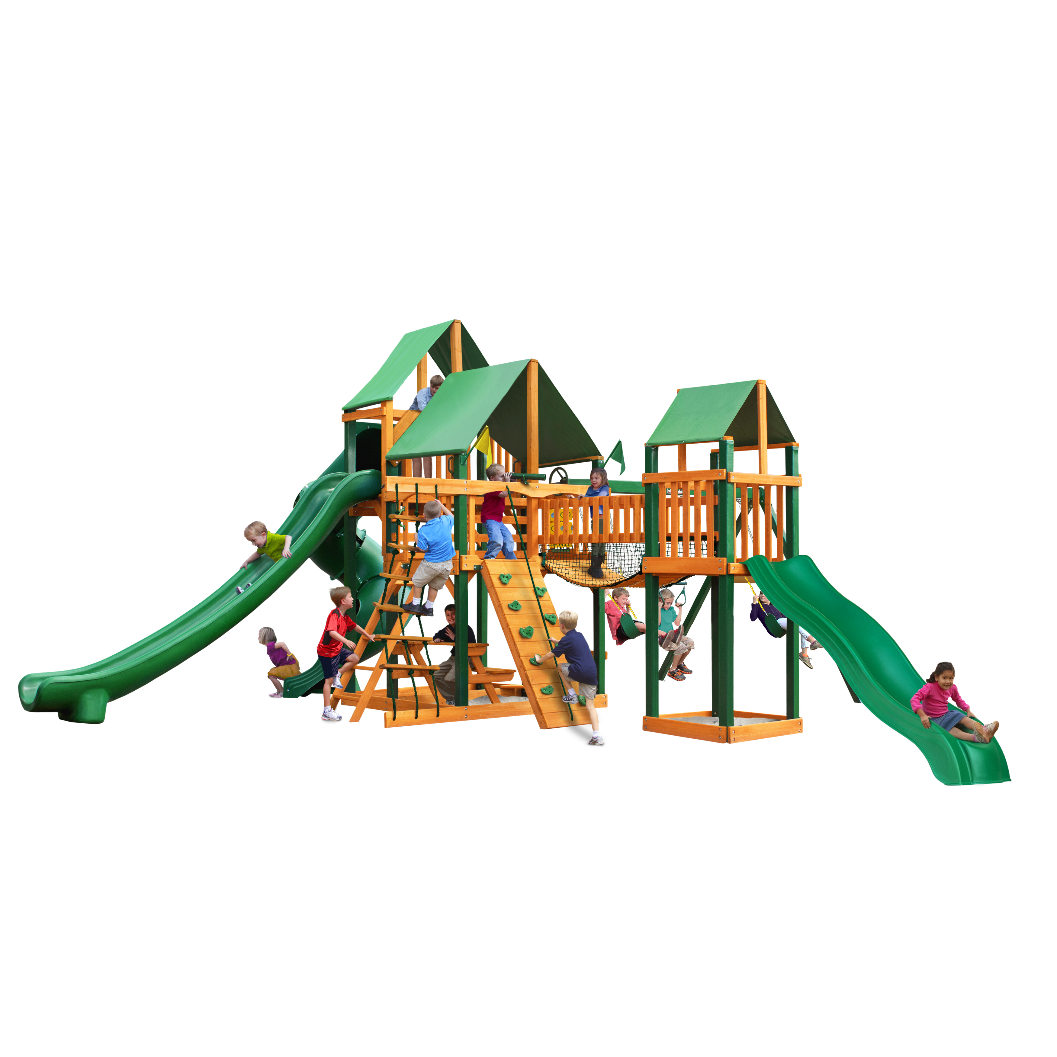 Gorilla Playsets Treasure Trove II Cedar Swing Set with Green Vinyl Canopy and Timber Shield™ Posts