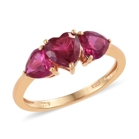 Silver 14K Yellow Gold Plated Ruby Cubic Zirconia CZ Heart Promise Ring