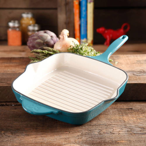 "The Pioneer Woman Timeless Square Cast Iron 10.25"" Cast Iron Enamel Grill Pan"