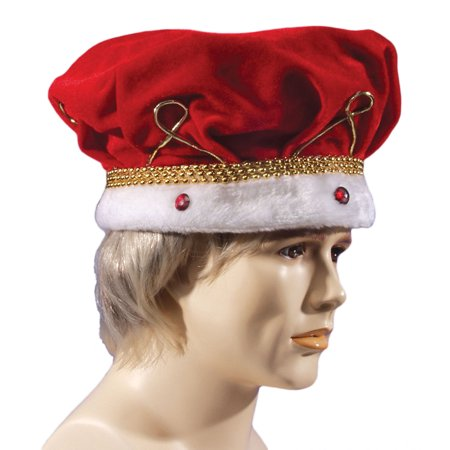 Loftus Adult Soft Royal Jewel Encrusted King Crown, Red White, One Size