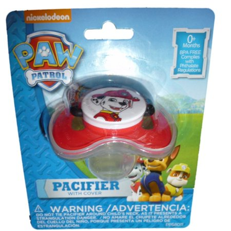 Paw Patrol pacifier with cover -- Red/Marshal, Red featuring Marshall By Paw Patroll Ship from US](Red Paw)