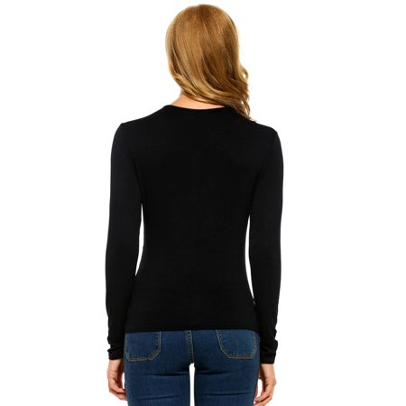 Women Casual V-Neck Long Sleeve Floral Lace Pocket Shirt Tops T2PC - image 3 of 9