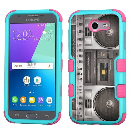 ShockProof Case for Samsung Galaxy J3 Luna Pro 4G LTE / J3 Eclipse / J3 Emerge / J3 Prime, OneToughShield ® 3-Layer Hybrid Protector Phone Case (Teal/Pink) - Boombox