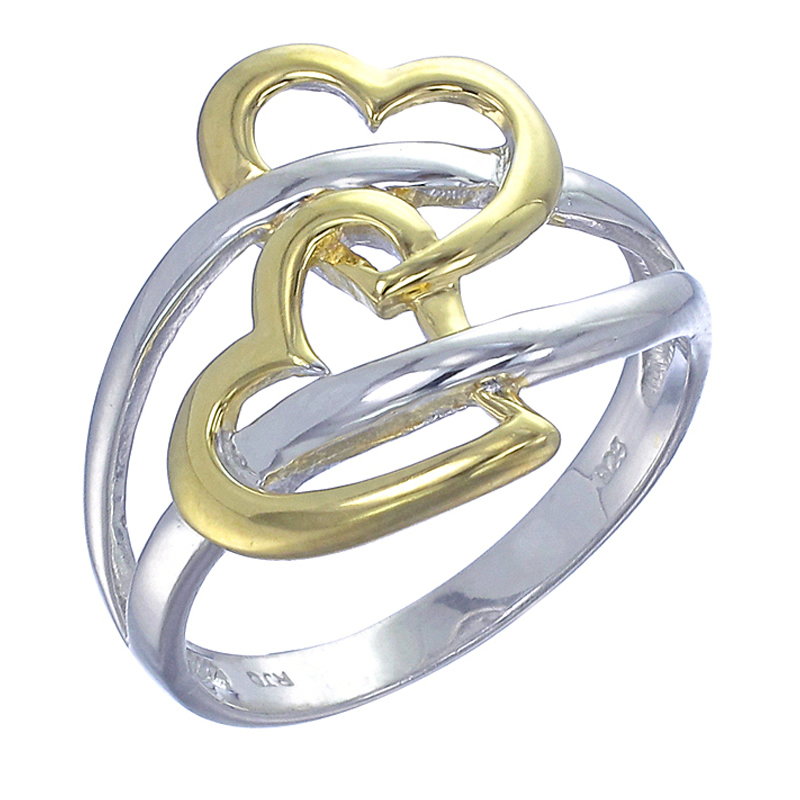 Yellow Gold Plated Sterling Silver Heart Ring