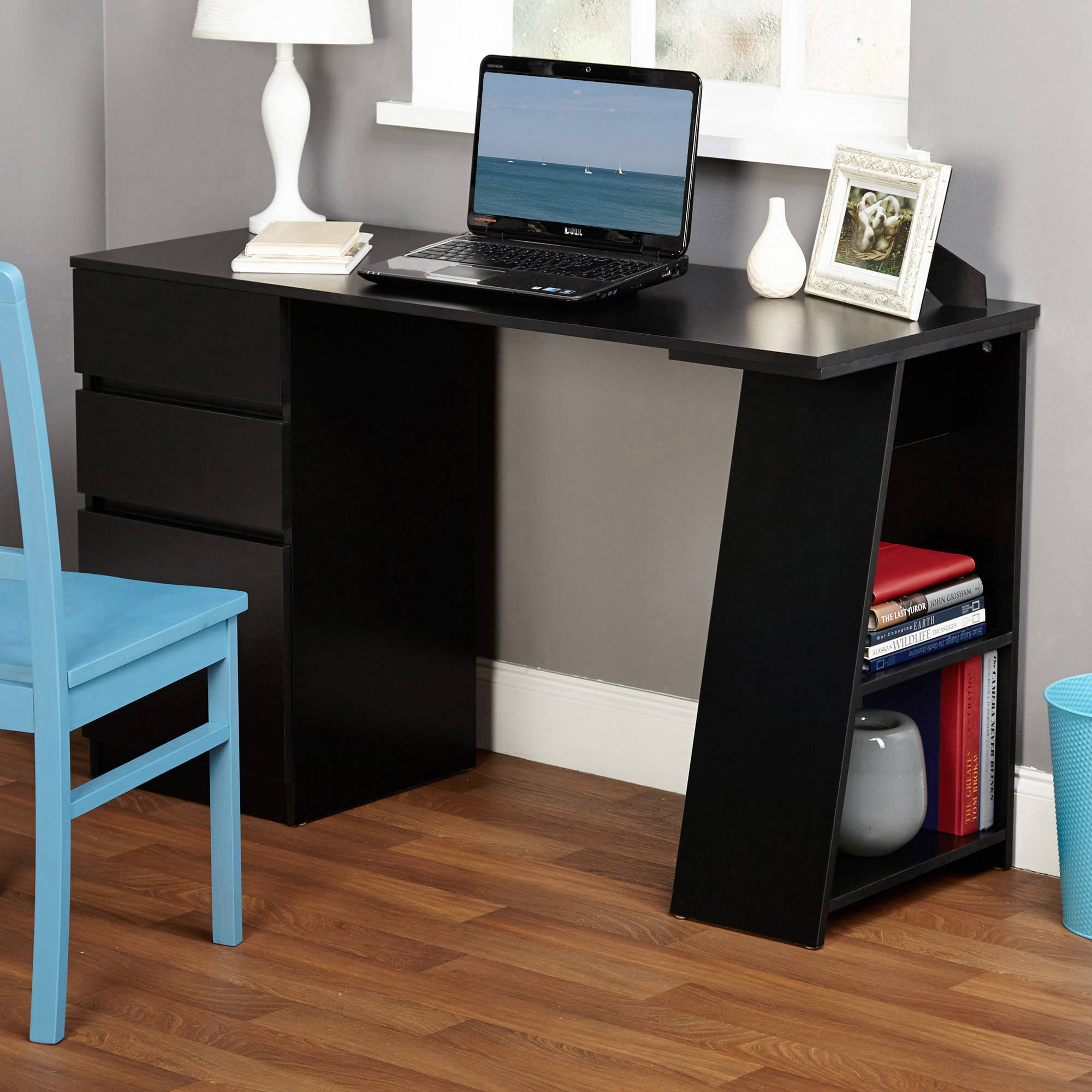 como writing desk with 3 storage drawers multiple colors walmart com rh walmart com