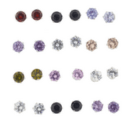 Lux Accessories Multi Color Stone Studded Pack Multi Earring Set 12 pcs