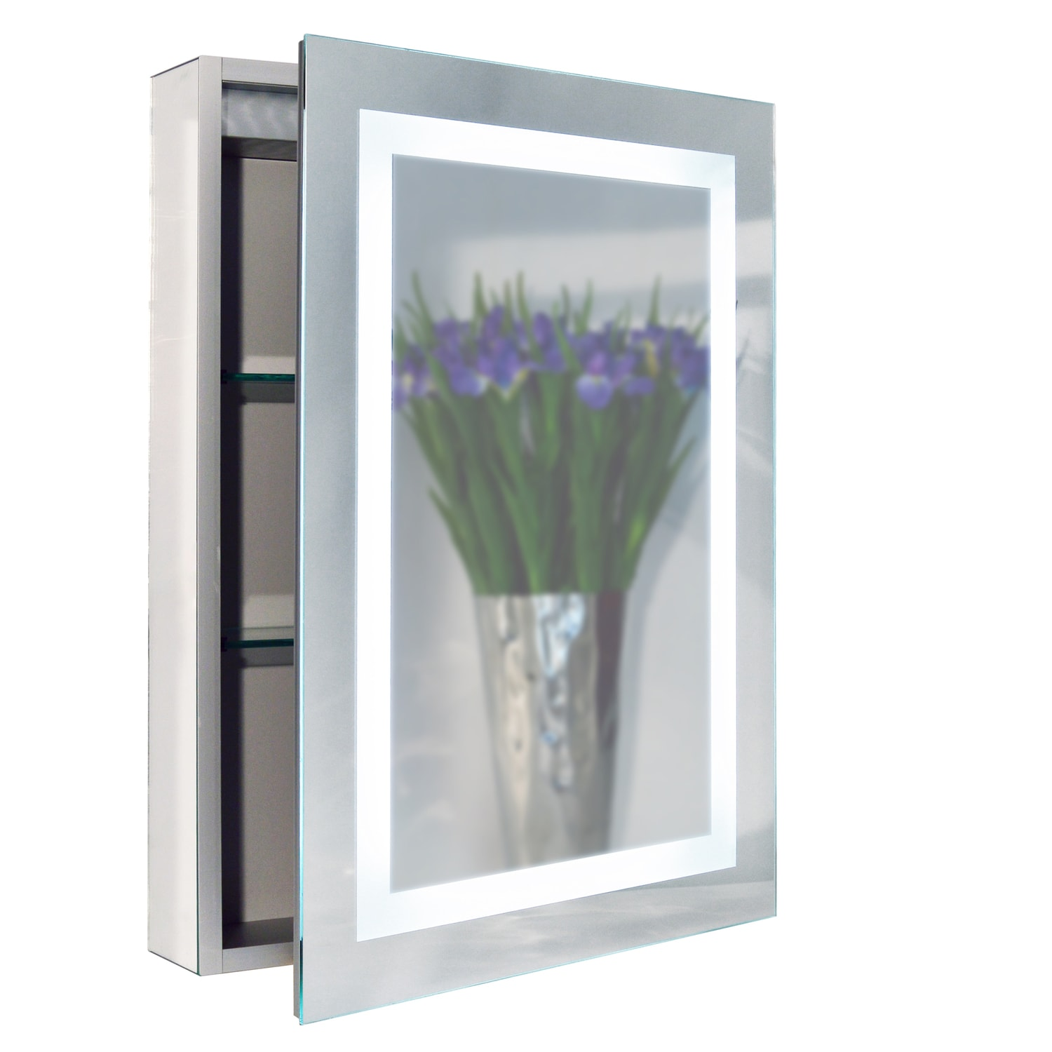 "Dainolite Lighted Medicine Cabinet, 20"" x 28"" - Silver"