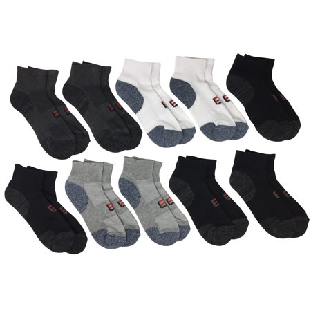 Locker Room Men's 10-Pack Cushion Athletic Quarter Socks, Black, One Size Fits - Cushion Quarter Socks