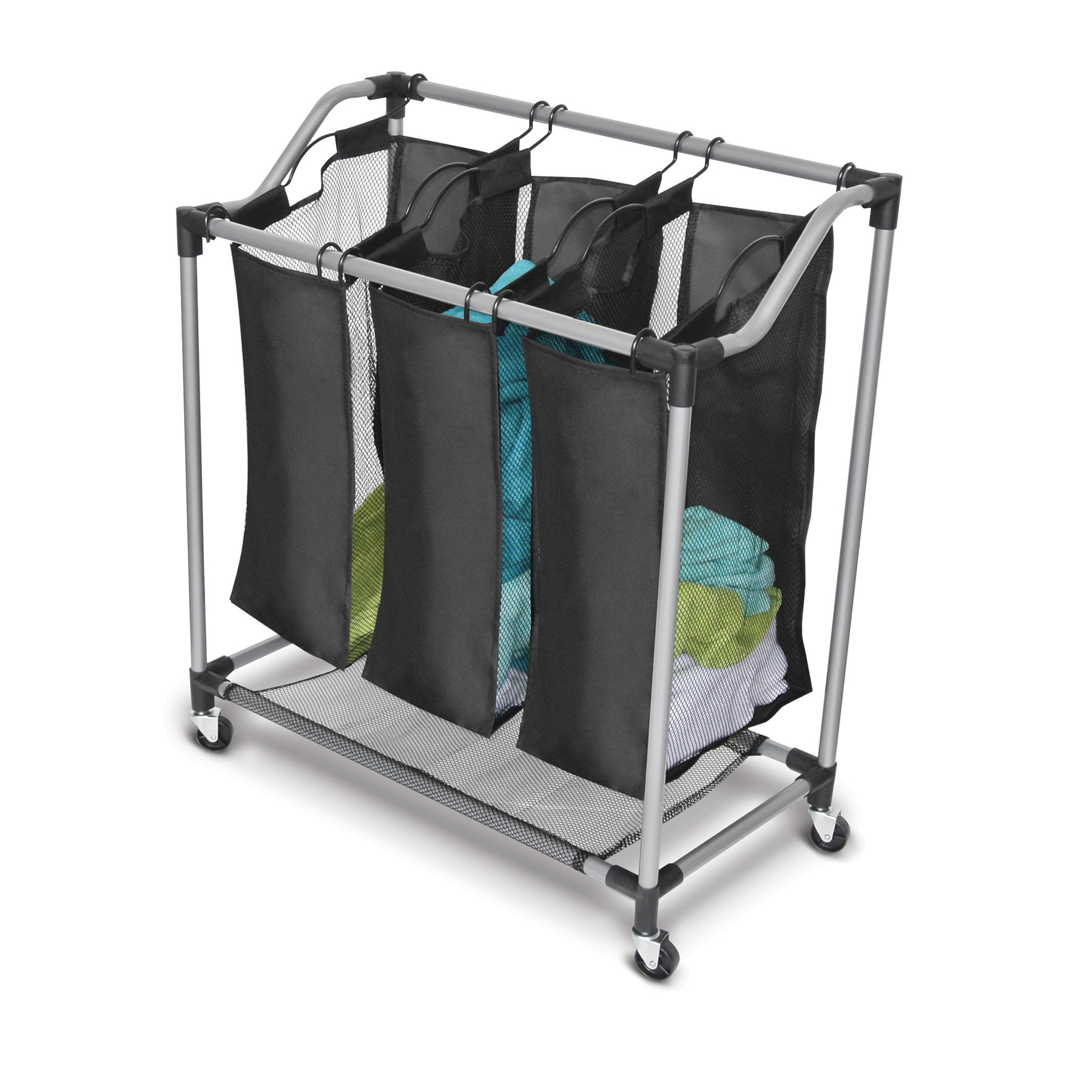 Homz Black Mesh Triple Sorter, with Casters, Set of 1