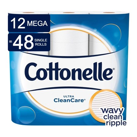 Cottonelle CleanCare Toilet Paper, 12 Mega Rolls (=48 Regular
