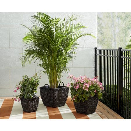 Cosco Indoor/Outdoor Nesting Pot Planter 3-Piece Basket Box Set, 13