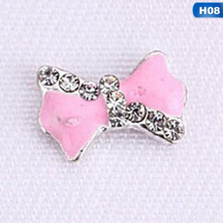 KABOER 10Pcs\/Bag 16 Designs New Cute Bowknot Series Elegant Nail Art Jewelry 3D Alloy Embed Diamond Glitter Rhinestones Fashion Diy Manicure Grooming Ornament (Arm Embedded)