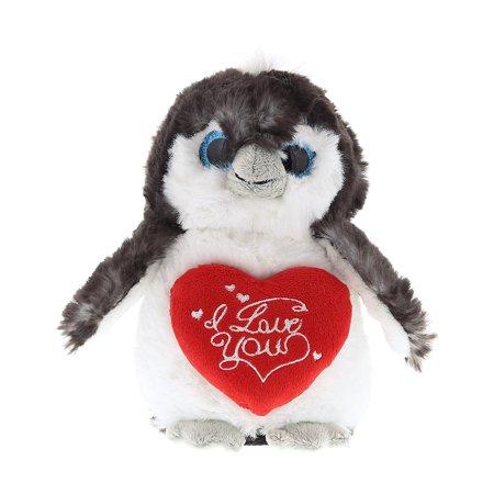 Super Soft Plush Dollibu Grey Penguin I Love You Valentines Plush ()