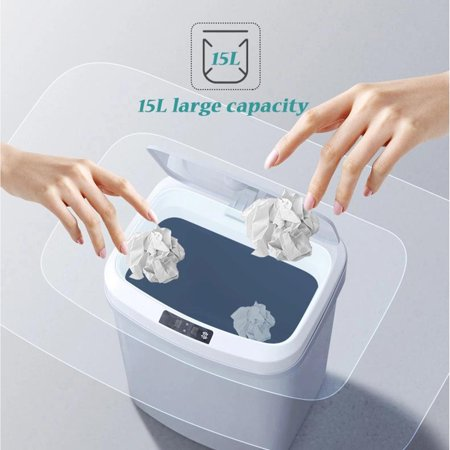 15L/4Gal Touch-free Trash Cans Smart Knock Trash Cans Automatic Garbage Can Infrared Motion Sensor with Lid for Kitchen Bathroom Office Bedroom - image 3 of 7