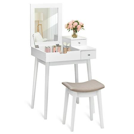 Costway Vanity Dressing Table Set Flip Mirror Desk Furniture Stool W/ 2 Drawer White - image 10 of 10