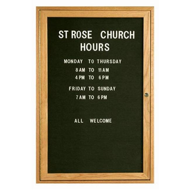 Aarco Products ODC3624 1-Door Enclosed Changeable Letter Board - Oak