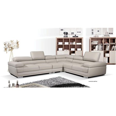 ESF 2119 Chic Grey Leather Sectional Sofa Set Contemporary Modern Right Hand