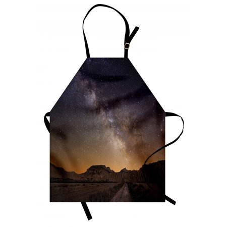 Night Apron Milky Way over Desert of Bardenas Spain Ethereal View Hills Arid Country, Unisex Kitchen Bib Apron with Adjustable Neck for Cooking Baking Gardening, Plum Apricot Chocolate, by Ambesonne