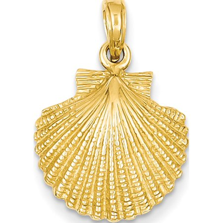 Leslies Fine Jewelry Designer 14k Yellow Gold Scallop Shell (15x24mm) Pendant