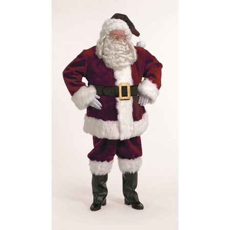 7-Piece Majestic Santa Clause Suit Deluxe Costume Thick Burgundy - Adult Size XXL