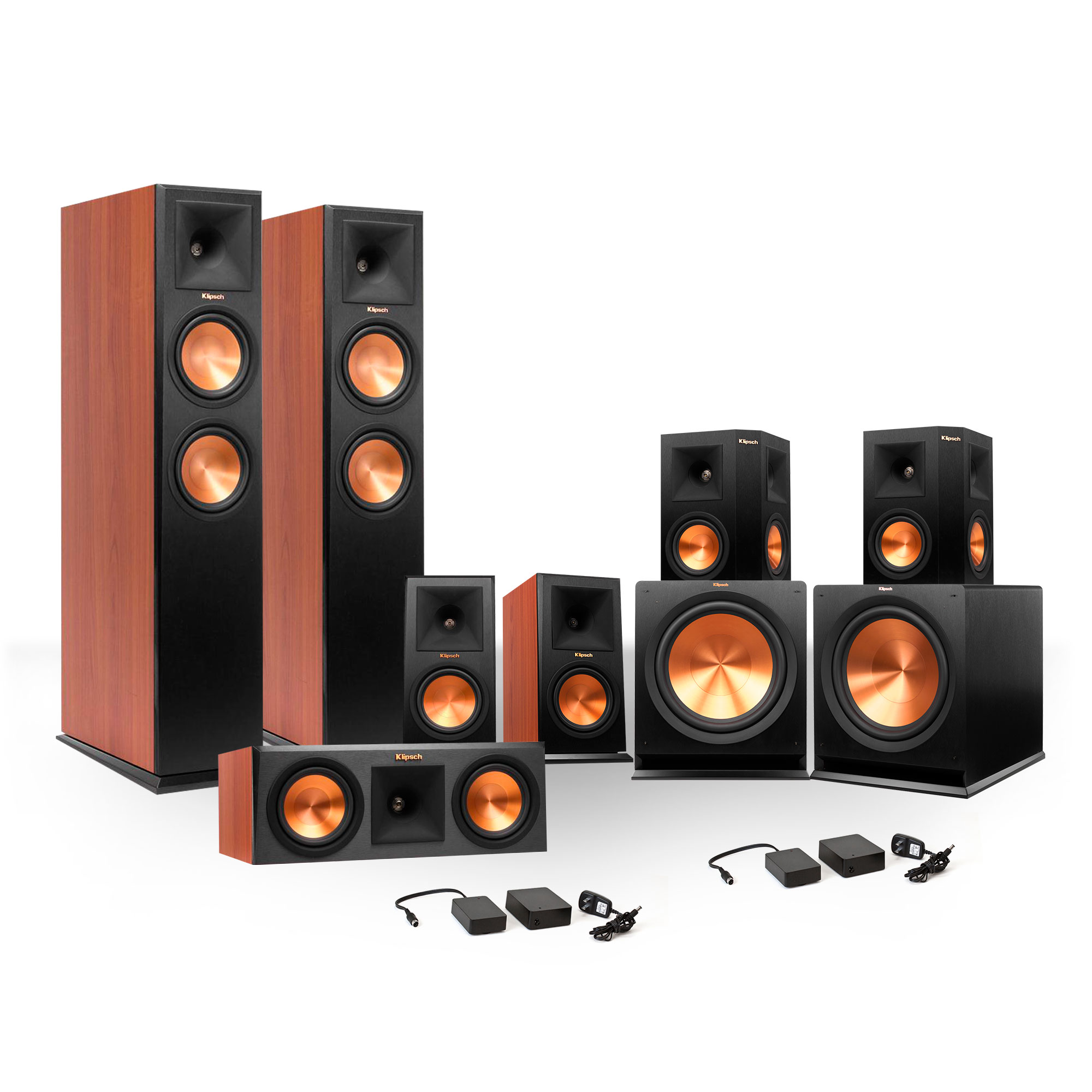 Klipsch 7.2 RP-250 Reference Premiere Surround Sound Speaker Package with R-110SW Subwoofers and Two FREE Wireless Kits by Klipsch