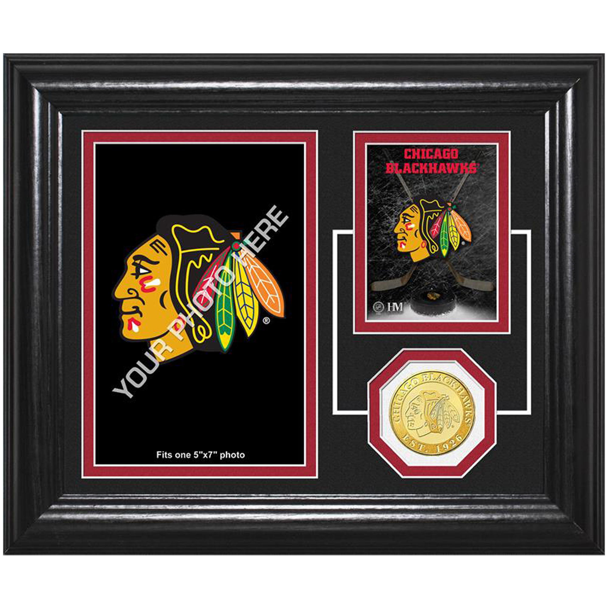 "Chicago Blackhawks Highland Mint Fan Memories 10"" x 12"" Bronze Coin Desktop Photo Mint - No Size"