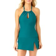 Catalina Women's Teal High Neck Keyhole Tankini Swim Top