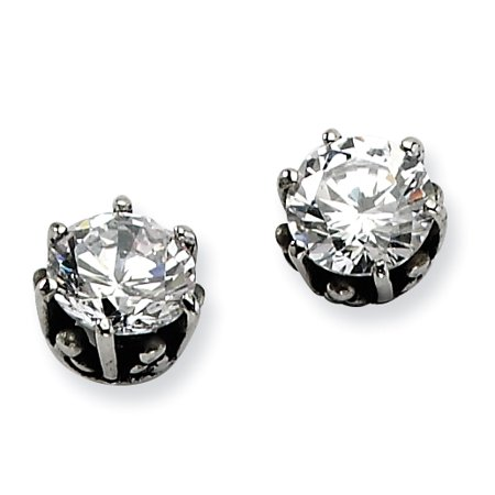 Stainless Steel Antiqued Round CZ Post Earrings Antique Cubic Zirconia Earrings