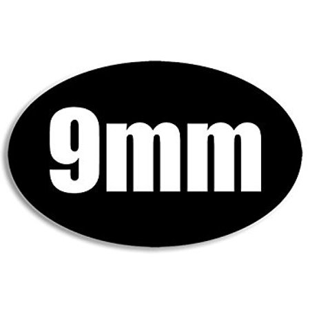 Black Oval 9MM Sticker Decal (gun caliber handgun shoot) Size: 3 x 5 (Best Mid Size 9mm Handgun)