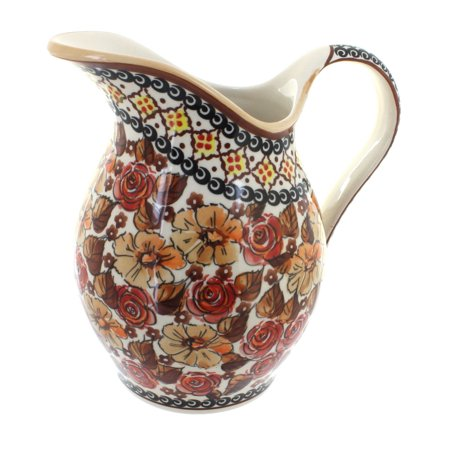 Polish Pottery Autumn Rose Pitcher