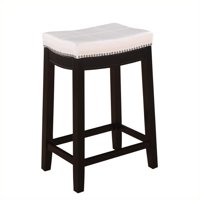 """Riverbay Furniture 24"""" Faux Leather Counter Stool in White"""