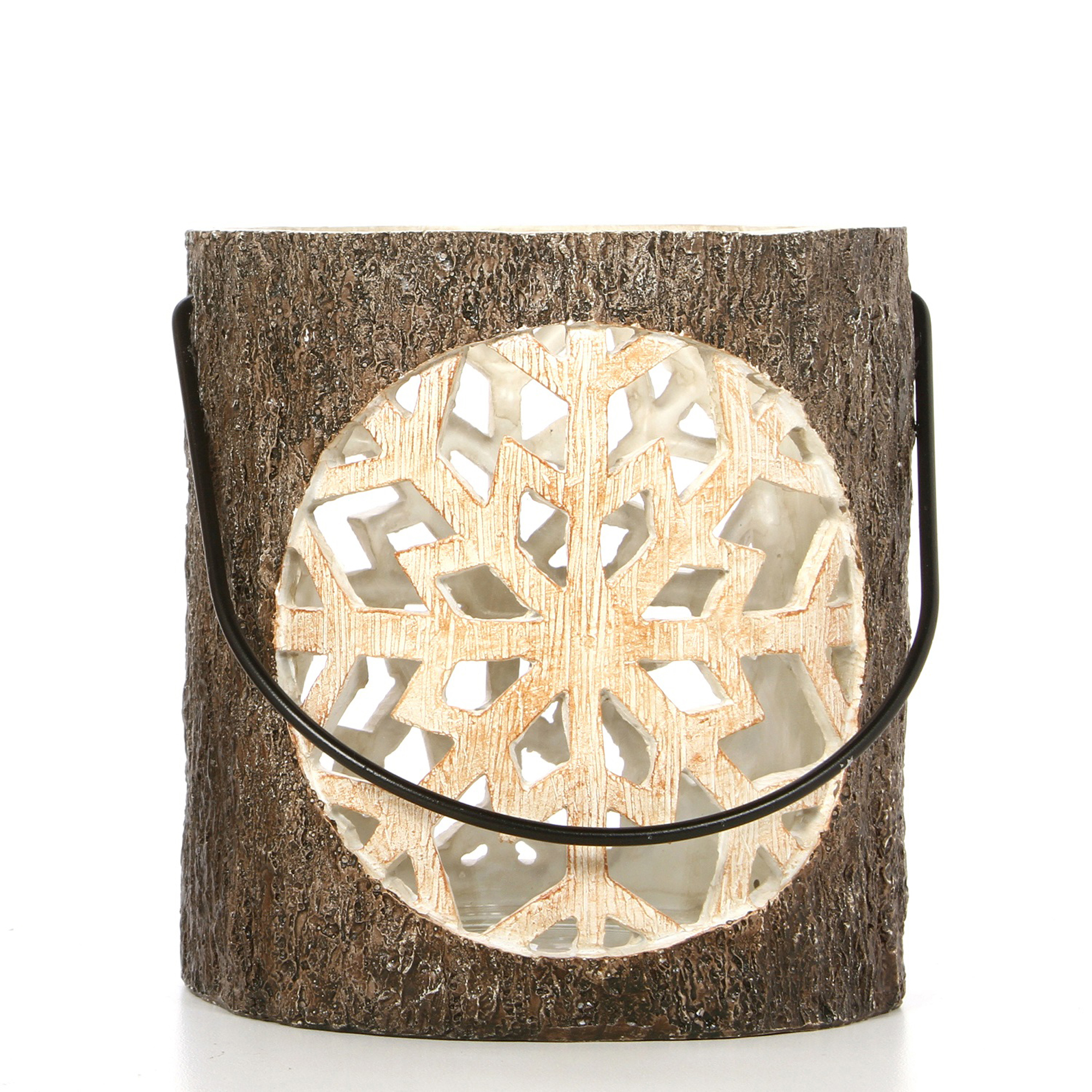 Mainstays Resin Snowflake Pillar Candle Holder with Glass, Faux Tree Bark Finish by HG Global, LLC